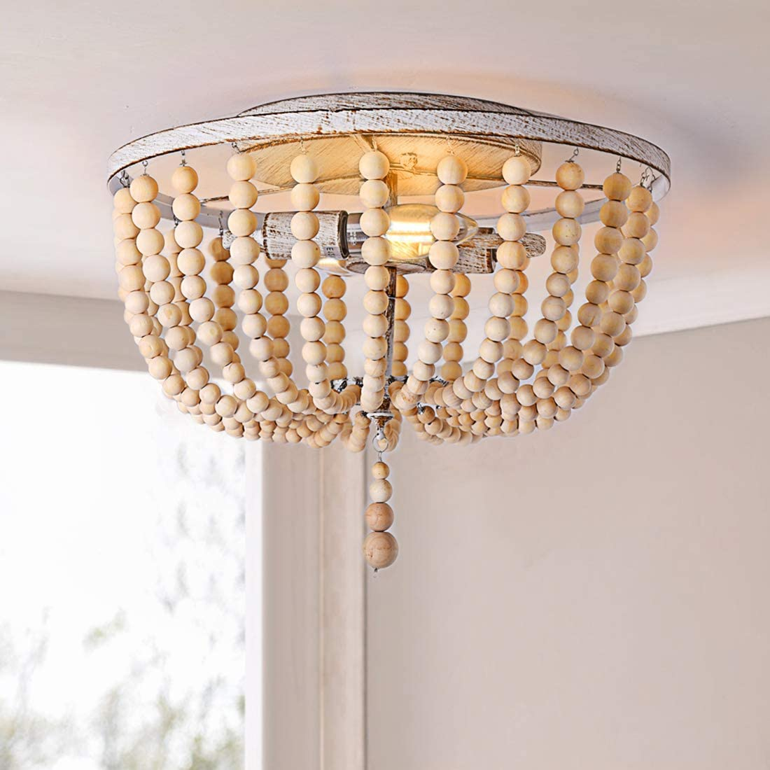 Flush Mount Ceiling Light, 2 Lights Wood Beaded Chandelier,Farmhouse Lighting Fixtures,Hand Painted Oak Wood Finish,for Entryway, Hallway, Foyer,Bedroom and Stairway
