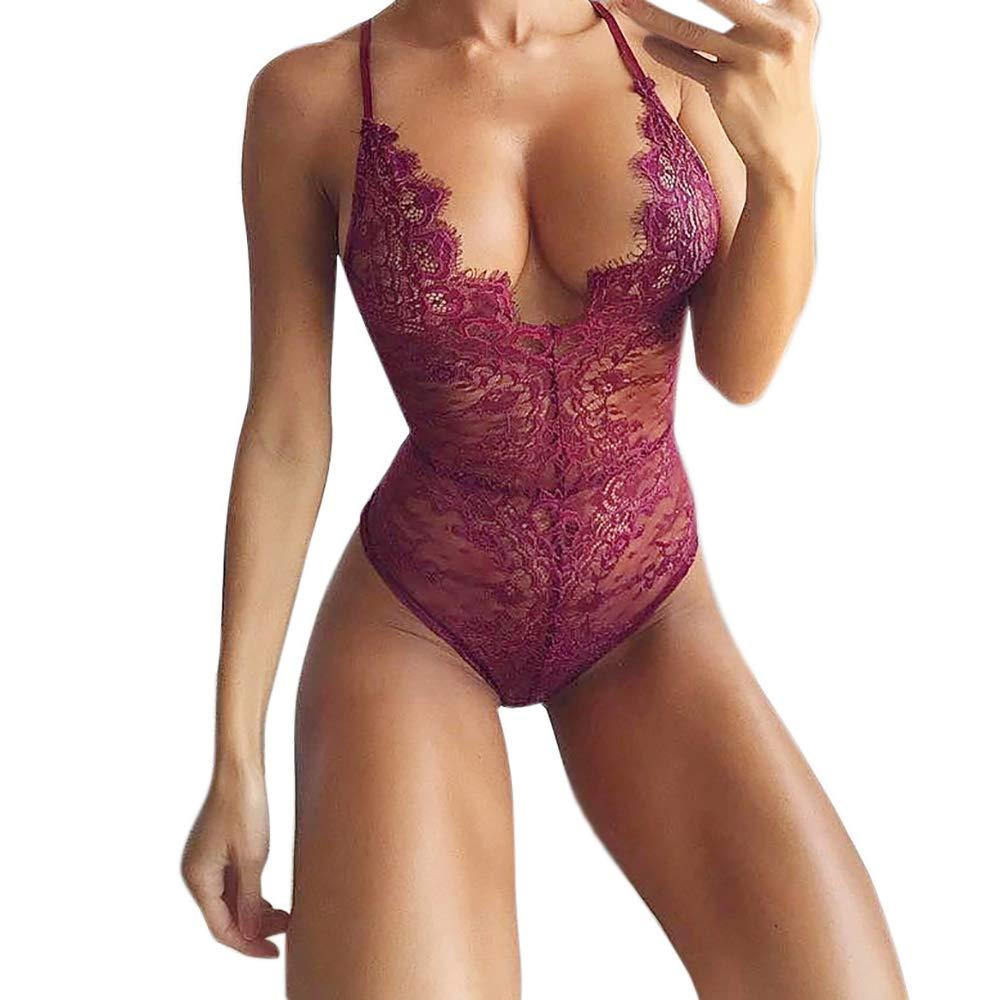 Mnyycxen Women Lingerie Corset Lace Underwire Racy Muslin Bodysuit Temptation Underwear