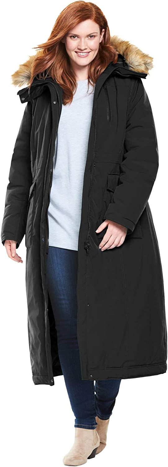 Woman Within Women's Plus Size The Arctic Parka in Extra Long Length Coat: Clothing