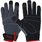 Handlandy Mens Work Gloves Touch screen, Synthetic Leather Utility Gloves, Flexible Breathable Fit- Padded Knuckles & Palm (L