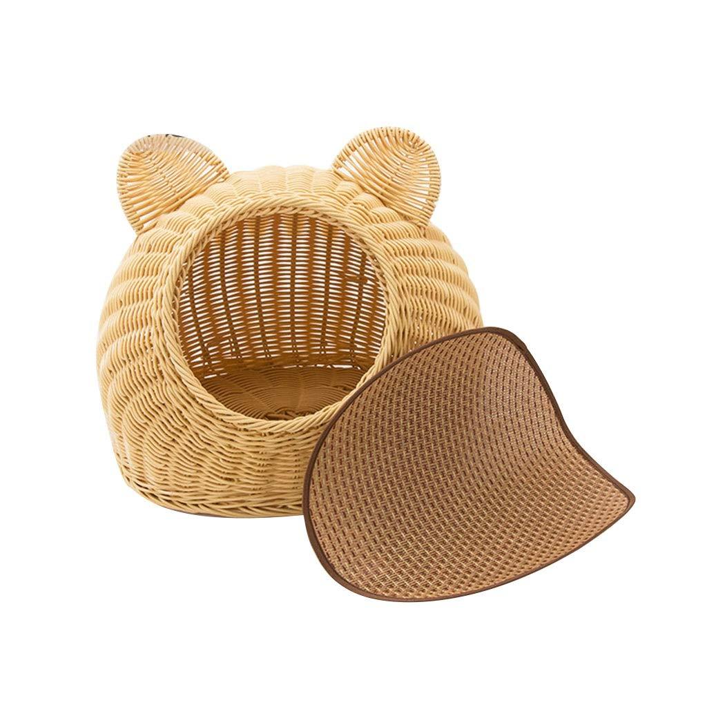 Beige 4030cm Beige 4030cm Bags & Packs Cool Four Seasons Universal Pet Bed Rattan Nest Summer Closed Cat House Cat Bed Pet Bed Kennel Cat Supplies (color   Beige, Size   40  30cm)