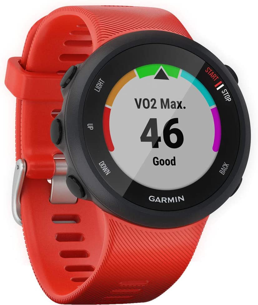 Garmin Forerunner 45, 42MM Easy-to-Use GPS Running Watch with Garmin Coach Free Training Plan Support, Red (Renewed)