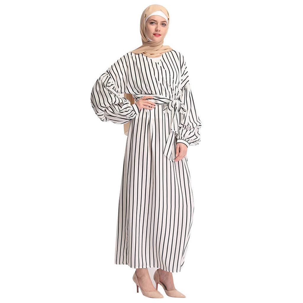 Randolly Women's DressesPuff Sleeve tie Muslim Modest Maxi Dress Abaya Turkey Stripe Long Robe Kaftan Clothes White