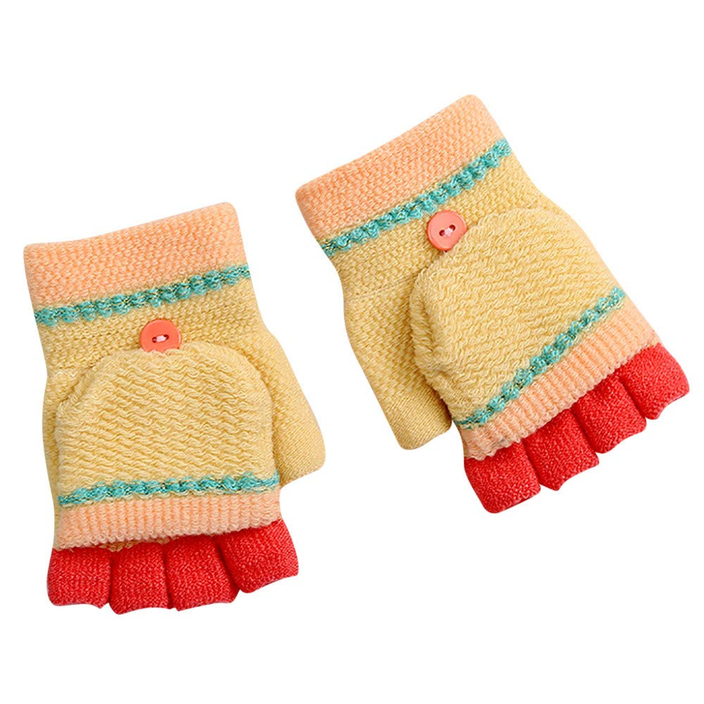 ChainSee Baby Kids Winter Warm Gloves Thicken Patchwork Mittens With Cover Fashion Cool Cute