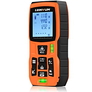 Laser Measure 393Ft - LOMVUM Laser Tape Measure Laser Measurement Tool with M/In/Ft Unit Switching, Backlit LCD, Pythagorean Mode, Measure Distance, Area and Volume - Carry Pouch and Battery Included