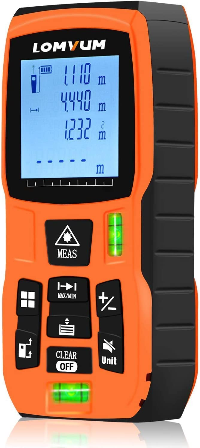 LOMVUM Laser Measure 393Ft Mute Laser Distance Meter with 2 Bubble Levels, LCD Backlit Display and Measure Distance, Area and Volume, Pythagorean Mode Battery Included