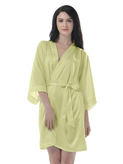 e37b4157db Remedios women silk satin kimono robe short for bride bridesmaid sleepwear  chartreuse at amazon women clothing