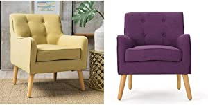 Christopher Knight Home Felicity Mid-Century Fabric Arm Chair, Wasabi & Felicity Mid-Century Fabric Arm Chair, Purple