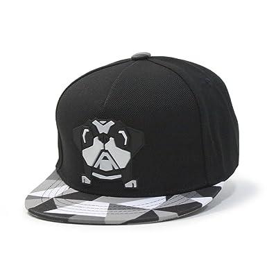 212a45a8cbb Animal Embroidered Sculpture Flat Brim Adjustable Snapback Cap (Kids Bulldog  Black)