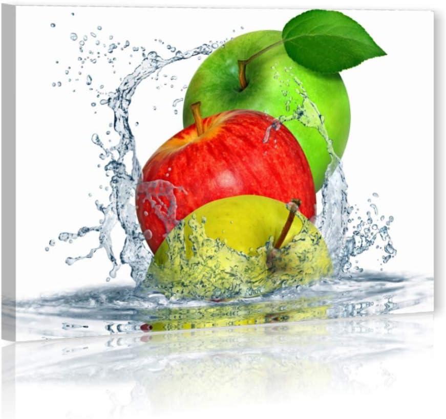 Apples Fresh – cuadro moderno ConKrea 70 x 50 cm Lienzo Impresión cuadros modernos Manzanas Fruta Fresca Agua Fruit arredamento Lounge Bar Restaurante Pizzeria Casa ...
