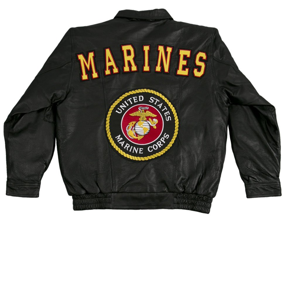 JWM Men's Leather Jacket US Marines XLarge Black by JWM
