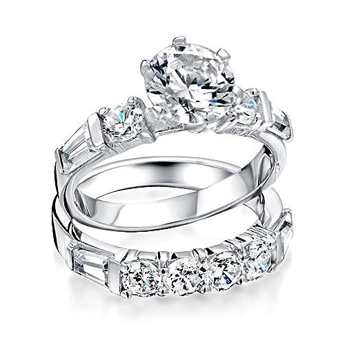 Bling Jewelry Sterling Silver Round Baguette CZ compromiso nupcial Juego de anillo de boda con el