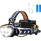 Rechargeable Headlamp, OUTERDO 12000 Lumens 6 LED 8 Modes USB Rechargeable HeadLight with 2 Batteries, Waterproof LED…