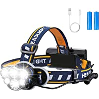 OUTERDO Super Bright Headlamp- 12000 Lumens 8 Lighting Modes with USB Cable 2Batteries, Rechargeable Head Torch…
