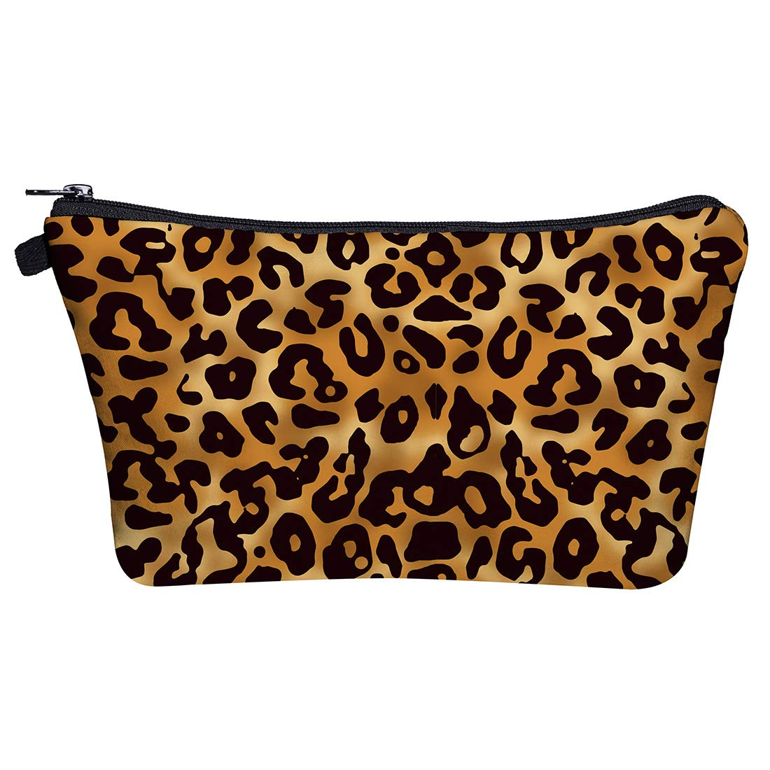 Portable Makeup Bag Organizer Travel 3D Printing Small Cosmetic Bags Zipper Pen Cases Brush Storage Pouch for Women Girls Purse (Leopard)