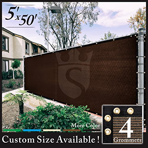 Royal Shade 5' x 50' Brown Fence Privacy Screen Cover Windscreen, with Heavy Duty Brass Grommets, Custom Make Size
