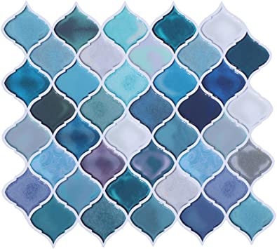 Hue Decoration Peel And Stick Decorative Tile Arabesque Design Modern Turquoise Smart Tiles Stick On Backsplash Tiles For Kitchen Bathroom 10x11 26 Pack Of 6 Amazon Com