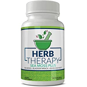Herb Therapy Sea Moss Plus (100 Capsules 1500mg) Irish Sea Moss Bladderwrack Burdock Root. Alkaline Supplements Non-GMO Thyroid Support No Fillers