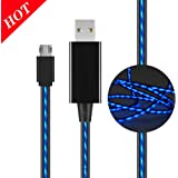 Micro USB Multi Function Data Line,LED Visible Flowing Charger Light Up Charging Cable Lighting Cable Charging Cords USB 2.0 A Male t to Sync Data for Samsung and Other Android Devices(Blue/Black)