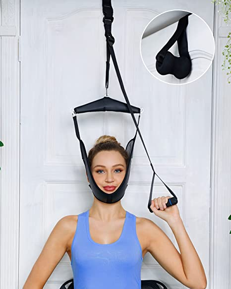 Cervical Neck Traction Device Over Door for Home Use, Portable Neck Stretcher Hammock for Neck Pain Relief, Physical Therapy AIDS for Neck Decompressor.