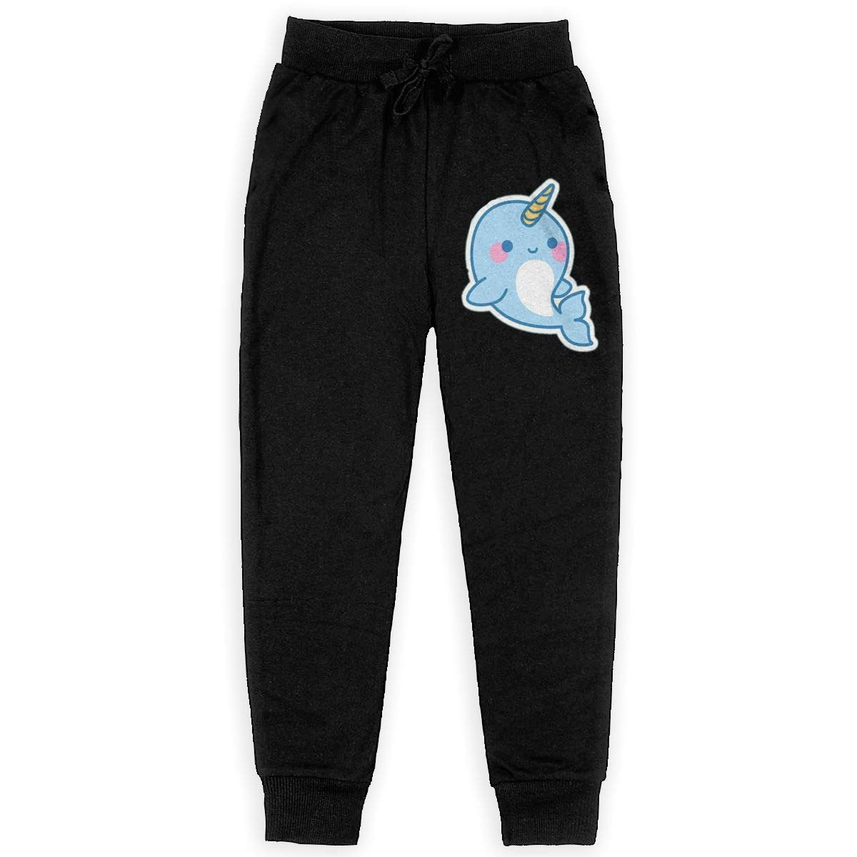 Qinf Boys Sweatpants Little Blue Narwhal Joggers Sport Training Pants Trousers Cotton Sweatpants for Youth