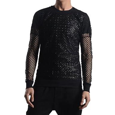 721c501c090ba YOUMU Men See Through Fishnet Mesh Long Sleeve Shirt T-Shirt Dance Gothic  Punk Fashion Top Clubwear Black  Amazon.co.uk  Clothing
