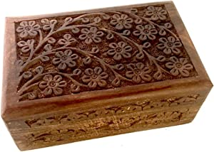 New Age Imports, Inc. Gift Ideas~ Floral Carved Handmade Wooden Box 4 inches by 6 inches~Ideal for Storing Jewelry, Coins, Tartot Cards, Small Treasures, URN Box & etc (Floral Carved 4
