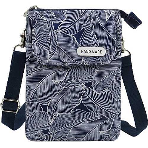 Women Cell Phone Purse Canvas Leaves Pattern Crossbody Purse Small Satchel Bag