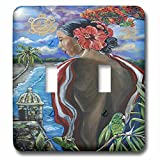 3dRose Melissa A. Torres Art Puerto Rican Art - Image of Woman with Puerto Rican imagery - Light Switch Covers - double toggle switch (lsp_261559_2)