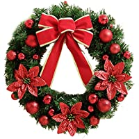 Misaky christmas party Christmas Wreath, Artificial Holiday Berries Snowflake Decorations