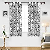 Deconovo Window Curtains Grommet Top Room Darkening Curtains for Living Room 52W x 63L Inch with Printed Square Pattern Black 1 Pair Review