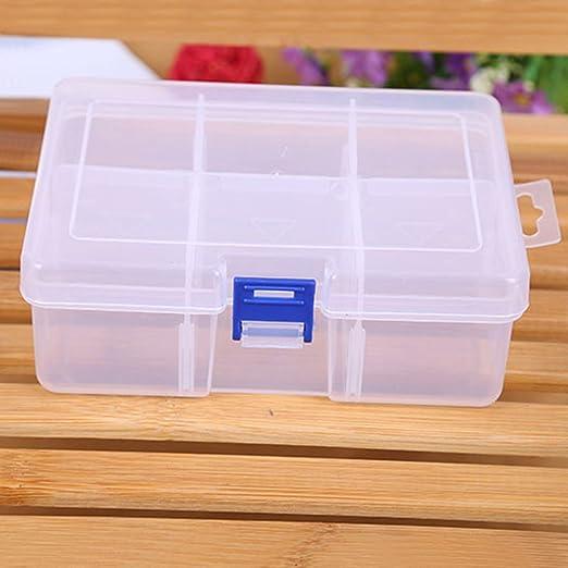 Craft almacenamiento organizador caja, hankyky grande de plástico transparente desmontable con botones 6 cuadrícula maquillaje herramienta contenedor: Amazon.es: Hogar