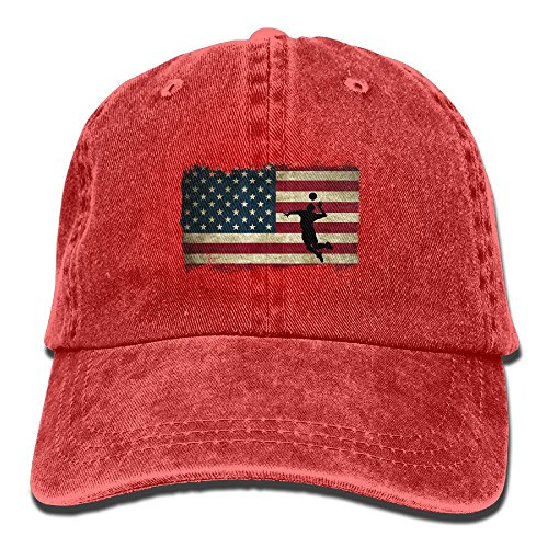 NEW FACUP American Flag Retro Vintage Volleyball Unisex Washed Twill Cotton Baseball Cap