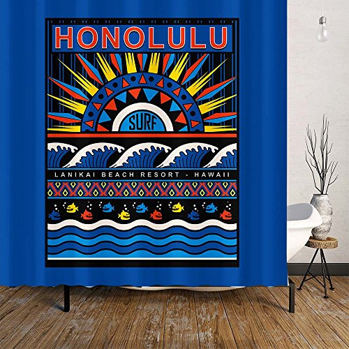 Honolulu Token Shower Curtain Set With Hooks, Hawaii Capital, Waterproof Polyester Fabric Mildew Resistant, Fish Wave Surf Sun Beac, Blue Black Red - Stores Honolulu