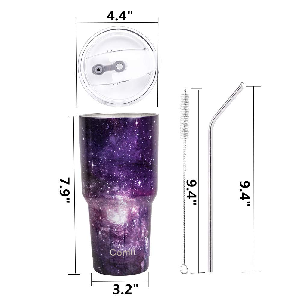 Cleaning Brush Gradient Comli 30oz Tumbler Stainless Steel Double Wall Vacuum Insulated Travel Mug With Lid and Straw