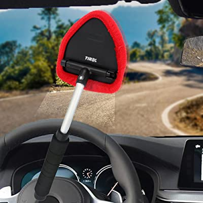 TIROL Window Clean Brush Windshield Microfiber Fabric Adjustable Triangular Shape Car Cleaning Supplies Lengthen Black Handle (Extendable 28-47CM) Car Clean Tool: Automotive