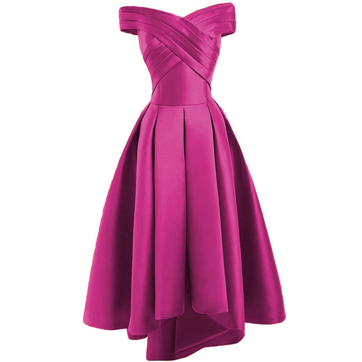 Fuchsia Dreagel Women's High Low Prom Dresses Off Shoulder Pleatd Evening Homecoming Dress