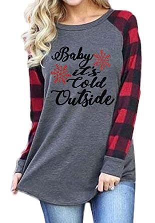 5267c80697 Amazon.com: Plus Size Baby It's Cold Outside Christmas T Shirt Women Long  Sleeve Plaid Splicing Tops Blouse: Clothing