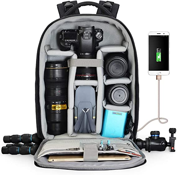 Camera Backpack with Laptop Compartment,Camera Bag Professional for DSLR//SLR Mirrorless Camera Waterproof,Camera Case Long-Lasting Durability and Storage Pockets Compatible Many Camera Lens Tripod