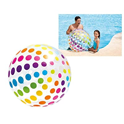 "Intex Jumbo Inflatable 42"" Giant Beach Ball - Crystal Clear with Translucent Dots, 1 Pack: Toys & Games"