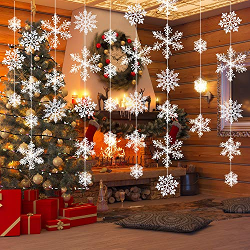 Tatuo 78 Pieces Christmas Snowflake Hanging Garland DIY Decorations for Christmas Winter Window Decorations, 78 Pieces Snowflake can Make 10 Strands Garland]()