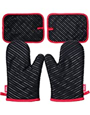 Deik Oven Gloves, Heat Resistant Cooking Gloves Anti-skid Kitchen Gloves with Silicone for Cooking, Baking,Black, 1Pair