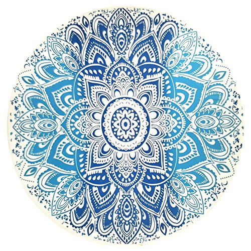 - YJ-Bear Round Indian Mandala Boho Beach Towel Throw Yoga Mat Blanket Wall Hanging Tapestry Roundie Table Cloth Cover Chiffon Blue 59