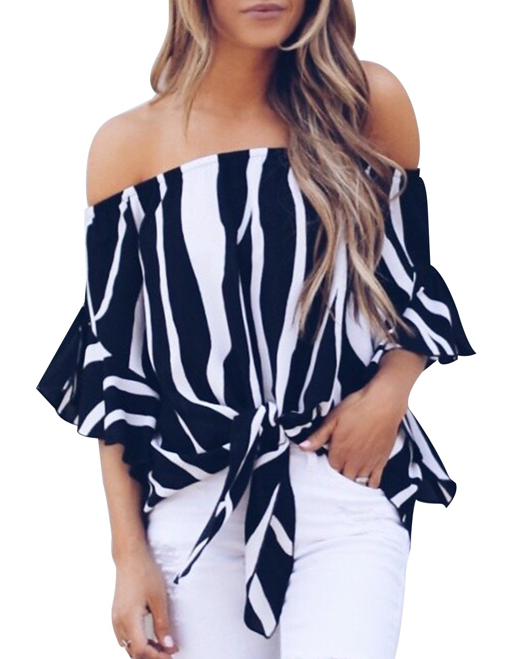 Womens Summer Sexy Off Shoulder Striped Short Sleeve T-Shirt Casual Knot Tie Chiffon Blouse Top (Black,M) by Defal (Image #1)