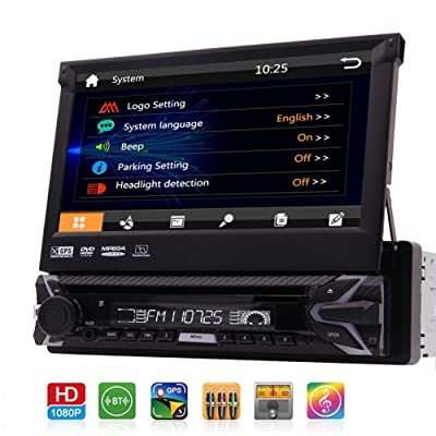 Single 1 Din Car DVD CD Player 7 inch Detachable Capacitive Touchscreen 1Din GPS Navigation Stereo Bluetooth Autoradio in Dash Head Unit FM AM RDS 1080p Video CAM-in USB SD AUX with 8GB Map & Remote : Electronics