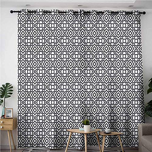 AndyTours Waterproof Window Curtains,Geometric Vintage Jacquard,Hipster Patterned,W84x72L (Ribbon Dot Jacquard)