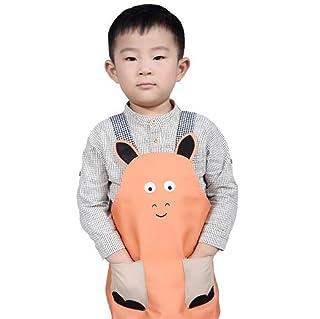 Apron Work Clothes 1PC Cartoon Pony Apron Cute Parent-Child Apron-Children Apron-S (Orange) Lihin