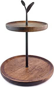 BOOKZON 2 Tier Serving Tray Wood, Rustic Cupcake Stand Tower ,Farmhouse Style Kitchen Tiered Tray ,Decor Trays with Handles for Party