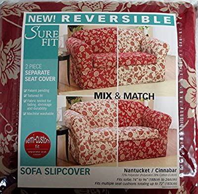 Sure Fit Reversible Sofa Couch 74-96 inches wide Slipcover Nantucket Cinnabar Floral 2 piece