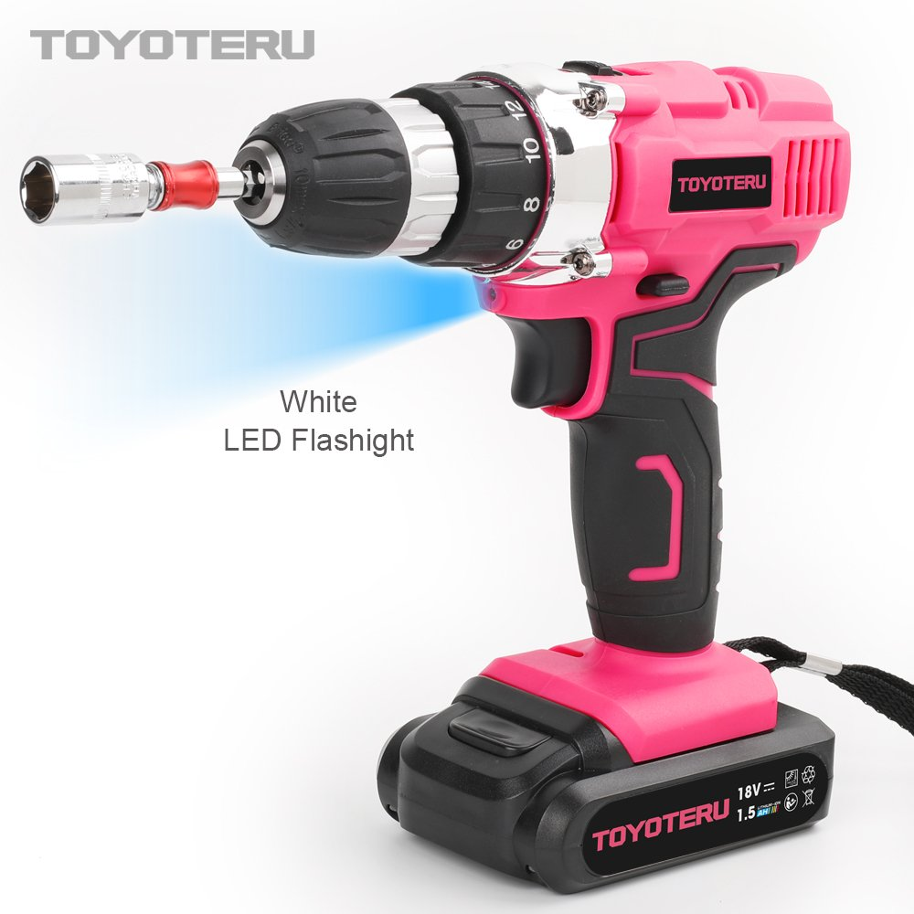 TOYOTERU Powerful 18 Volt Lithium-Ion Cordless Drill Driver Kit Pink Tool for Women- 33PCS Drill Accessory, 2 Gears,1500mAh Battery & Charger in Blow Mold Case by TOYOTERU (Image #5)